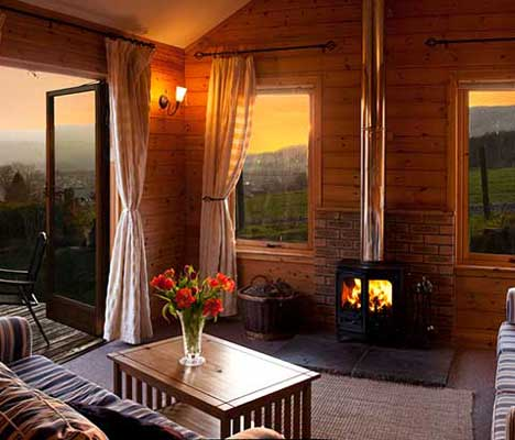 Two bedroom luxury log cabin with hot tub and wood burning Log cabins with hot tubs scotland