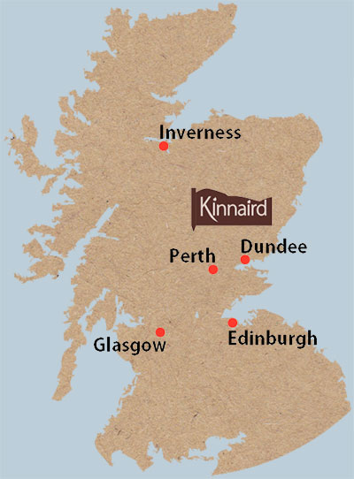 Map of Scotland showing the location of Kinnaird Log cabins