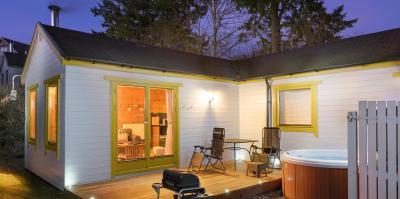 Romantic Log Cabin at night